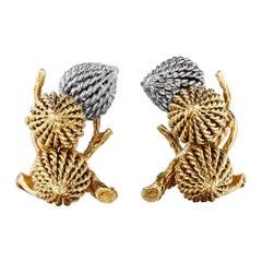 Sterle Paris Mid-Century Yellow White Gold Acorn Clip Earrings