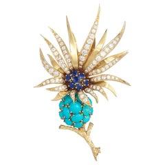 Sterle Paris Sapphire Diamond Turquoise Flower Brooch, 1950s