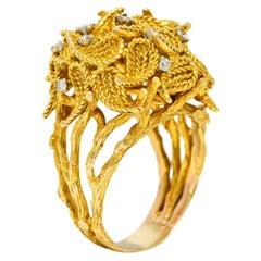 Sterle Paris Vintage Diamond Foliate Bouquet Statement Ring