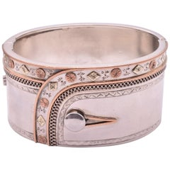 "Sterling and 3 Color Gold Bangle Whimsically Depicted as a ""Cuff"""