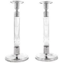 Sterling and Crystal Candlesticks