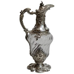 Sterling and Cut Glass Claret Pitcher, French, 19th Century