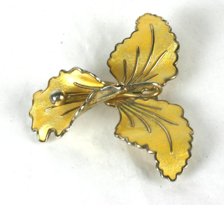 Sterling and Enamel Norwegian Orchid Brooch from the 1950's. Yellow enamel on a 3 dimesional orchid set in vermeil sterling.  2.5