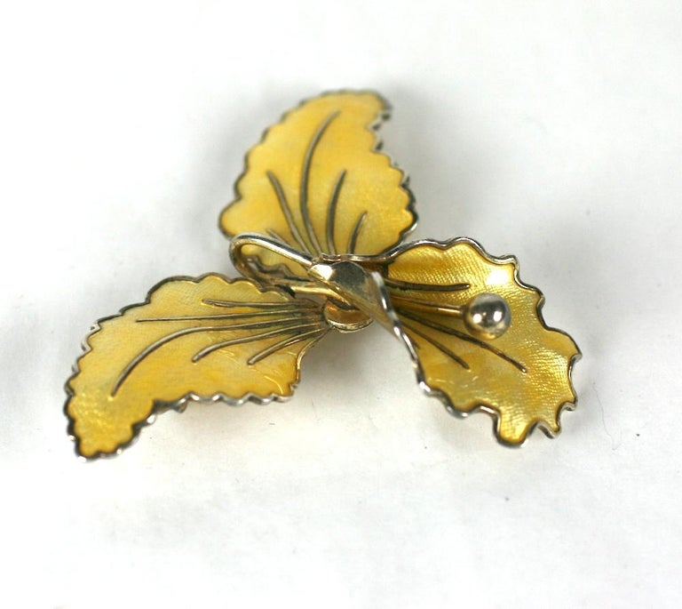 Sterling and Enamel Norwegian Orchid Brooch In Excellent Condition For Sale In Riverdale, NY