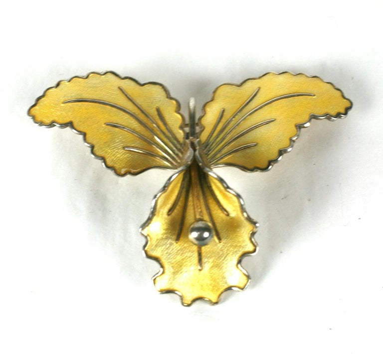 Sterling and Enamel Norwegian Orchid Brooch For Sale 1
