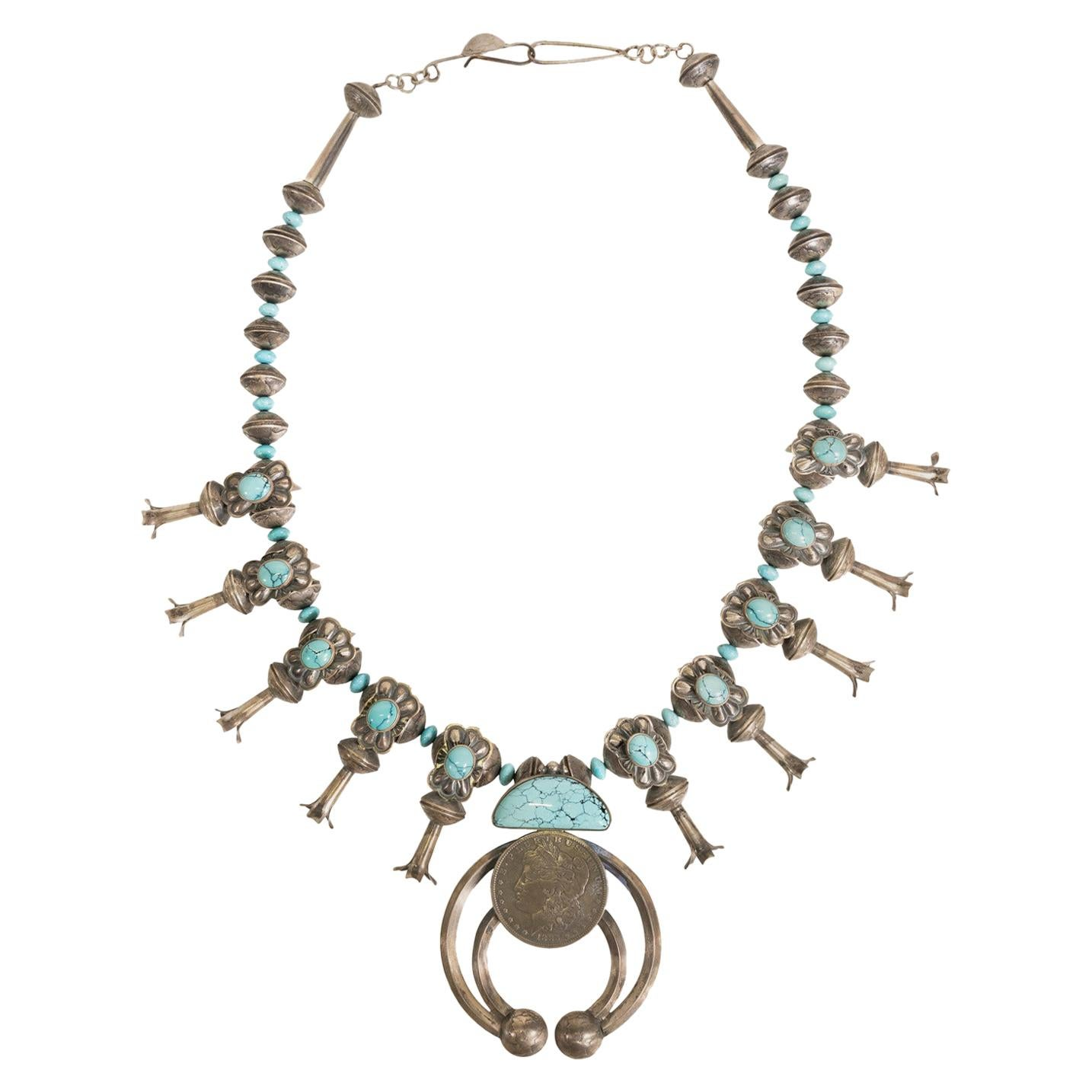 Sterling and Manassa Turquoise Silver Dollar Squash Blossom Necklace