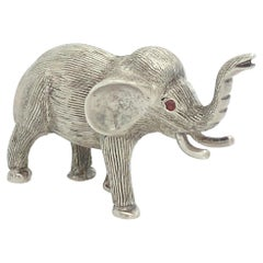 Sterling and Ruby Miniature Elephant