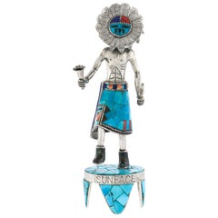 Sterling and Turquoise Navajo Sunface Dancer