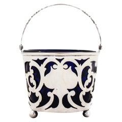Sterling Basket with Cobalt Liner