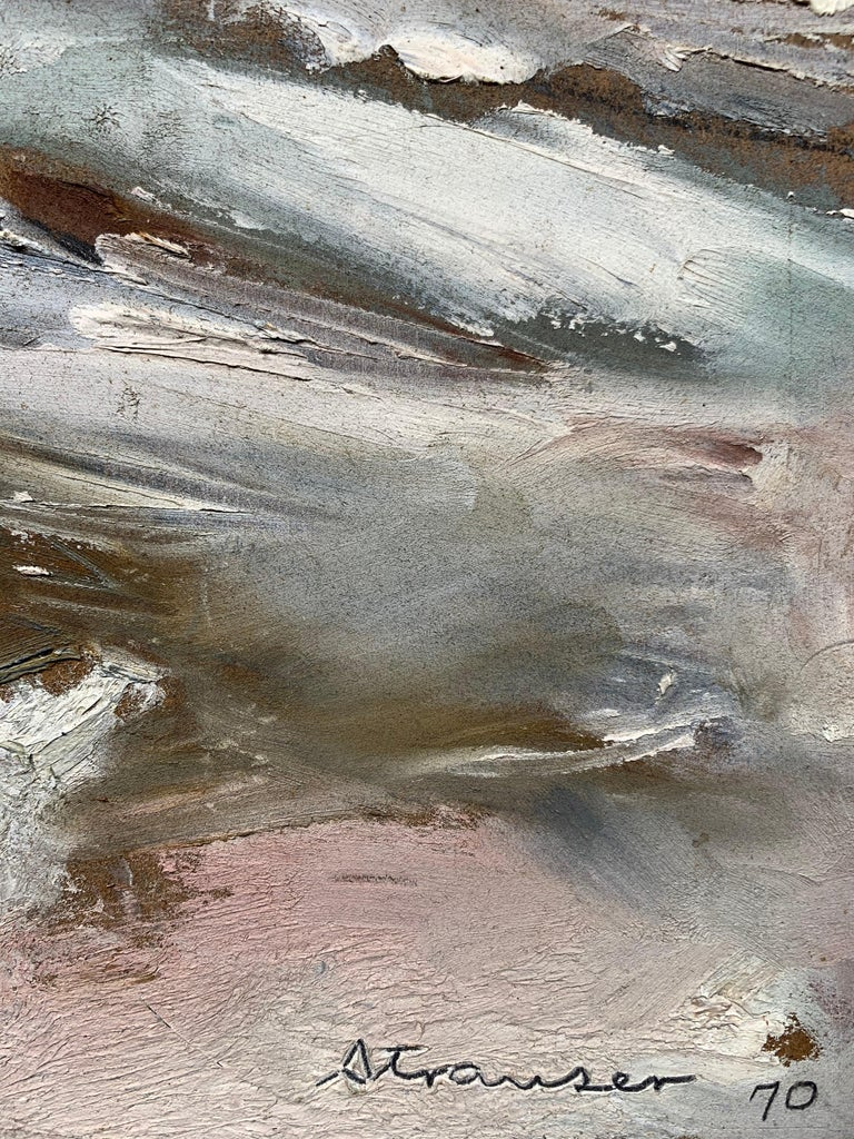 Winter Walk with Jasper, (Black Cat painting) - Brown Abstract Painting by Sterling Boyd Strauser