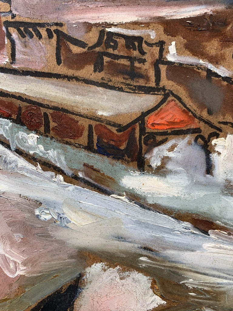 Sterling Strauser (1907-1995). Dorothy and Jasper, Crystal Street Station, 1970. Oil on masonite panel, 11.5 x 22.25 inches. Signed and dated lower right. Very good condition with no damage or conservation. Unframed. Framing services available.