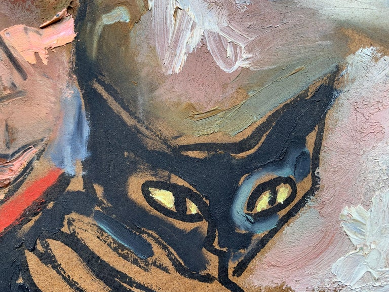Winter Walk with Jasper, (Black Cat painting) For Sale 1