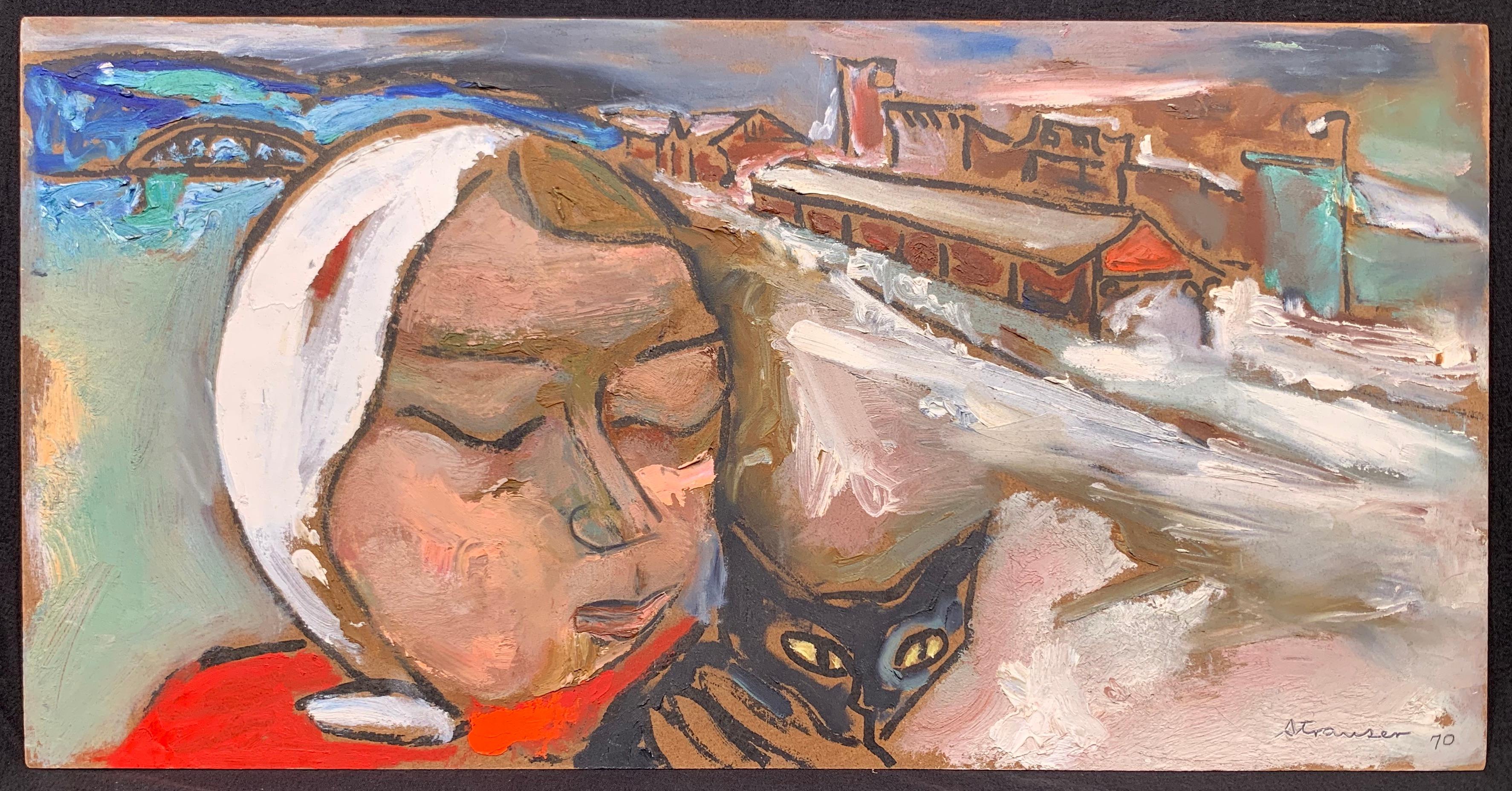 Winter Walk with Jasper, (Black Cat painting)