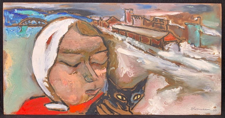Sterling Boyd Strauser Abstract Painting - Winter Walk with Jasper, (Black Cat painting)