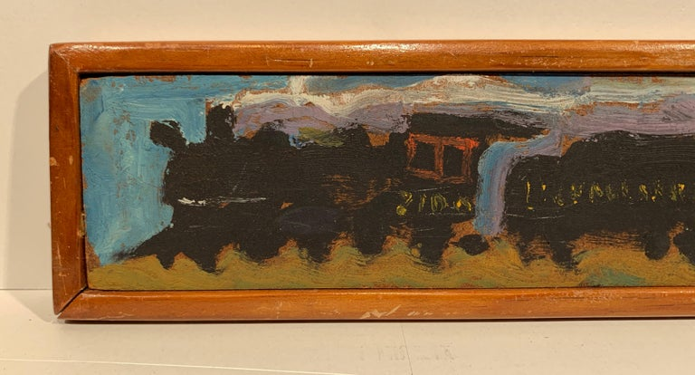 Yellow Caboose #2 (Lackawanna Railroad Freight Train Steam engine painting) - Painting by Sterling Boyd Strauser