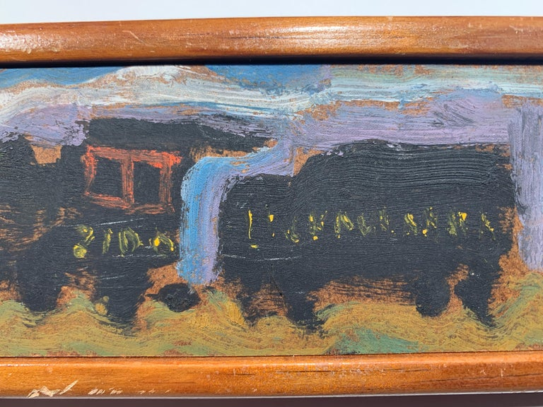 Yellow Caboose #2 (Lackawanna Railroad Freight Train Steam engine painting) - Expressionist Painting by Sterling Boyd Strauser