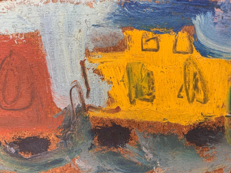 Sterling Strauser (1907-1995). Yellow Caboose #2, 1956. Oil on panel, 2.75 x 24  inches. Framed measurement: 3.25 x 24.5 inches. Signed and dated upper center. Titled on verso. Excellent condition with no damage or conservation.  Image depicts