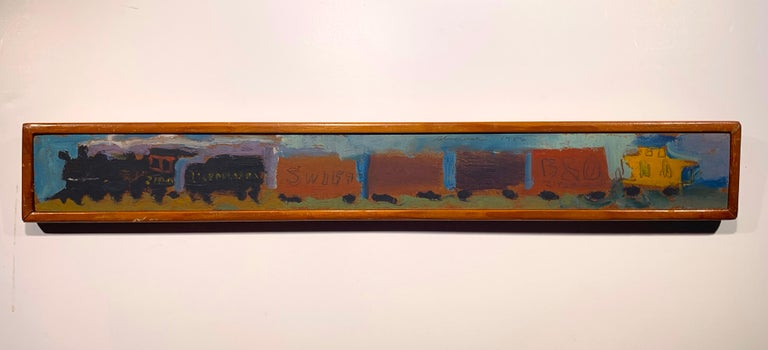 Sterling Boyd Strauser Abstract Painting - Yellow Caboose #2 (Lackawanna Railroad Freight Train Steam engine painting)