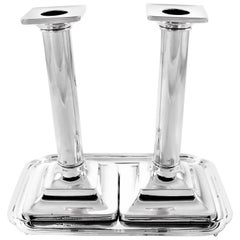 Sterling Candlesticks with Tray