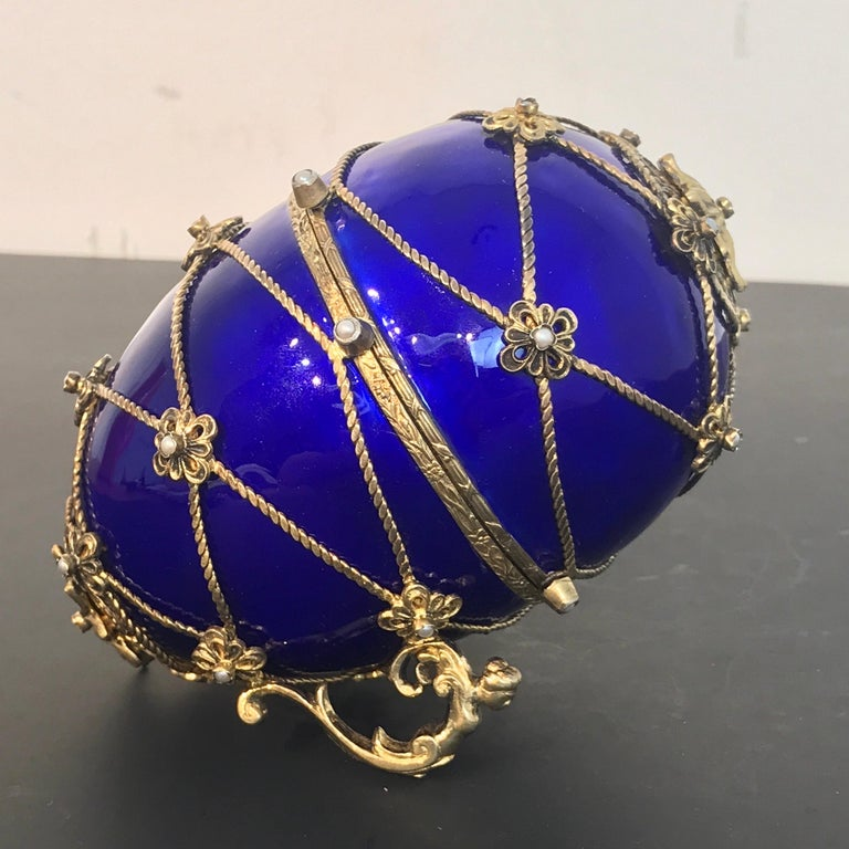 Sterling and Cobalt Blue Enamel Egg Music Box, in the Style of Fabergé For Sale 2