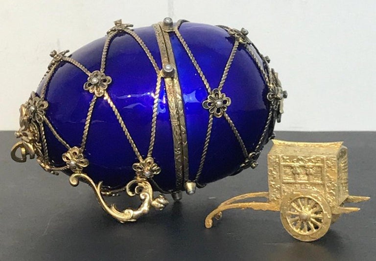Sterling and Cobalt Blue Enamel Egg Music Box, in the Style of Fabergé For Sale 4