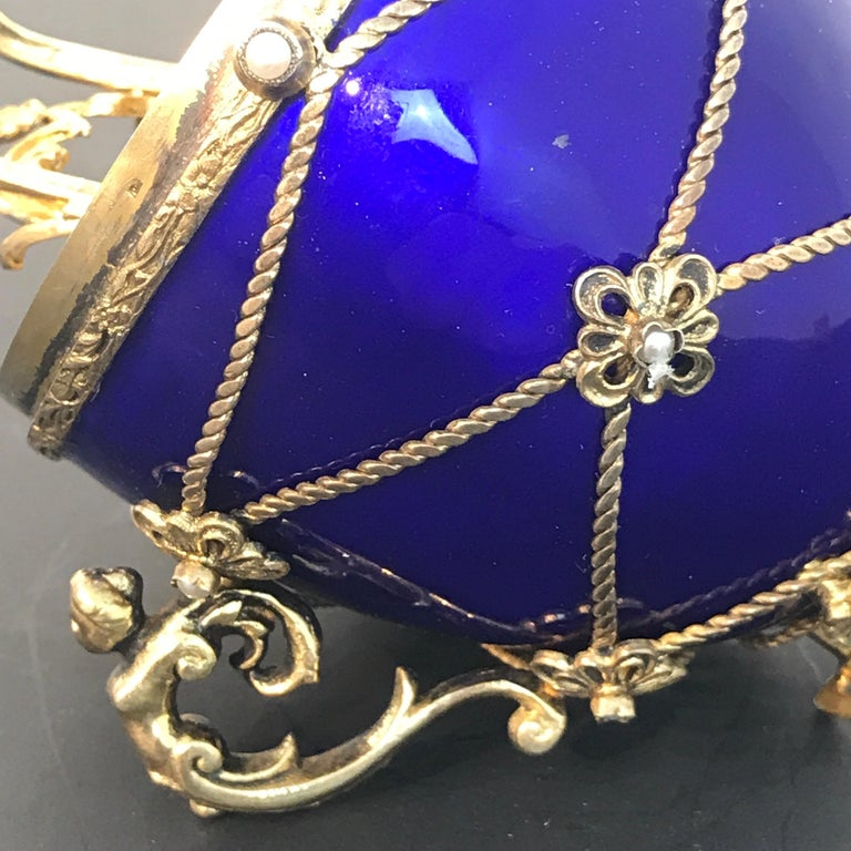 Sterling and Cobalt Blue Enamel Egg Music Box, in the Style of Fabergé For Sale 5