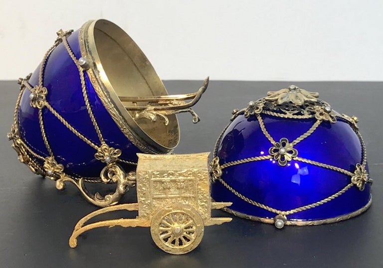 Belle Époque Sterling and Cobalt Blue Enamel Egg Music Box, in the Style of Fabergé For Sale
