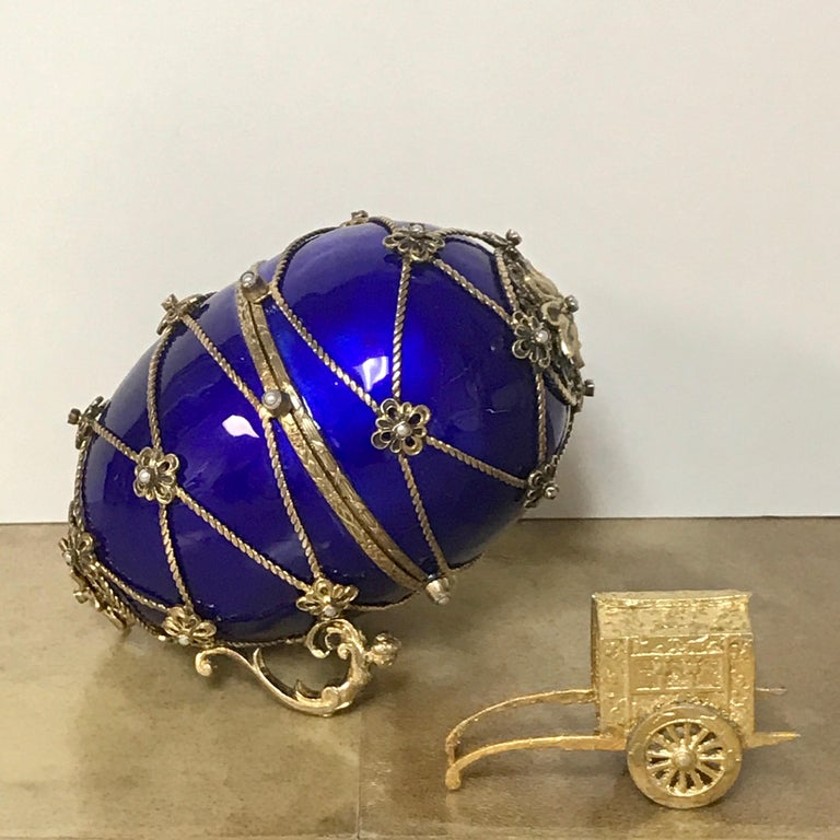 Austrian Sterling and Cobalt Blue Enamel Egg Music Box, in the Style of Fabergé For Sale