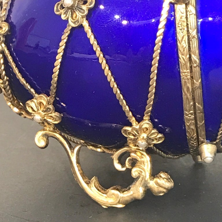 20th Century Sterling and Cobalt Blue Enamel Egg Music Box, in the Style of Fabergé For Sale