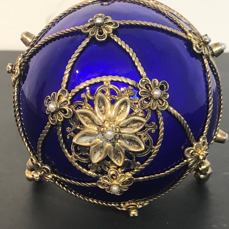 Sterling Silver Sterling and Cobalt Blue Enamel Egg Music Box, in the Style of Fabergé For Sale
