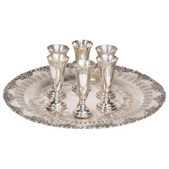 Sterling Cordial Glasses on Silver Plate
