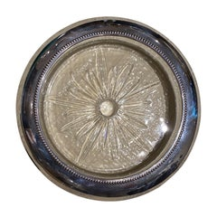 Sterling & Crystal Wine Coaster with Star Motif, Marked Frank M Whiting