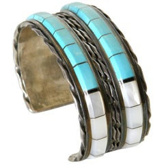Sterling Cuff Bracelet by Zuni Artists Martin and Esther Panteah
