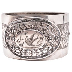 Sterling Cuff Bracelet with Birds in an Open Cutwork Border, circa 1880