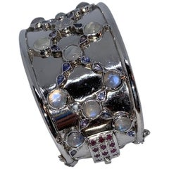 Sterling Cuff Bracelet with Rainbow Moonstone, Tanzanite and Ruby Clasp