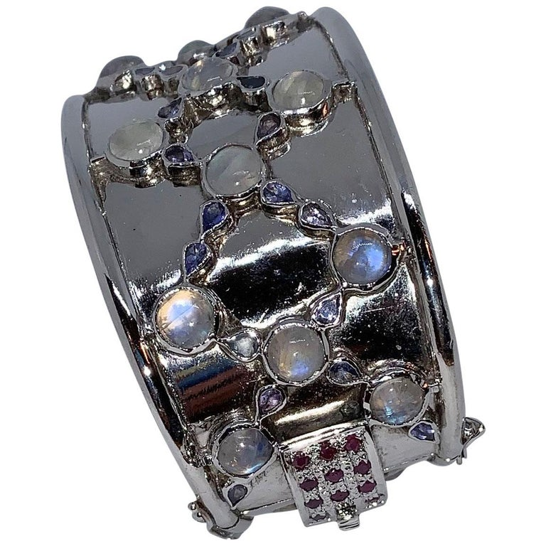 Sterling Cuff Bracelet with Rainbow Moonstone, Tanzanite and Ruby Clasp For Sale