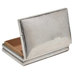 Sterling Deco Jewelry Box in Sterling Silver with Wooden Interior and Base