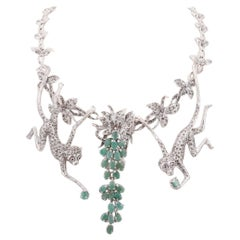 Sterling Emerald, Ruby and Marcasite Necklace with Articulated Monkeys