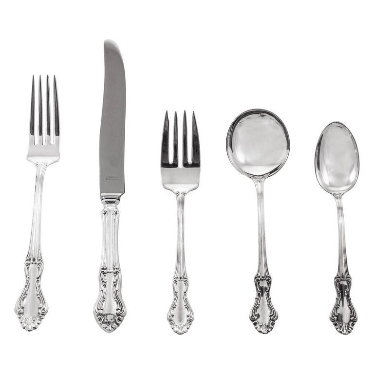 Sterling Flatware, Service for 12/5 Piece Settings For Sale