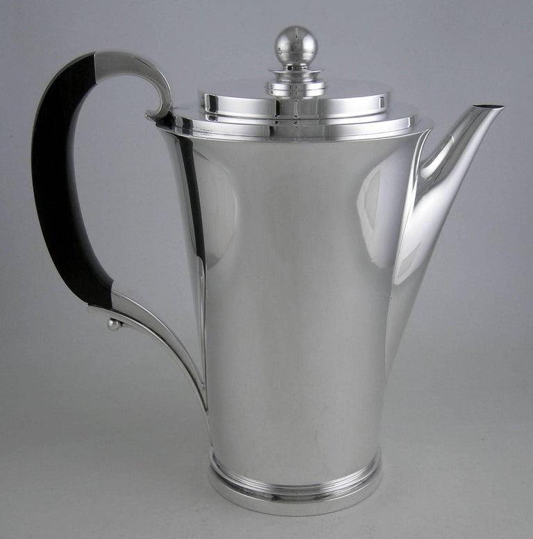 Sterling Georg Jensen Pyramid (1930) three-piece coffee set.