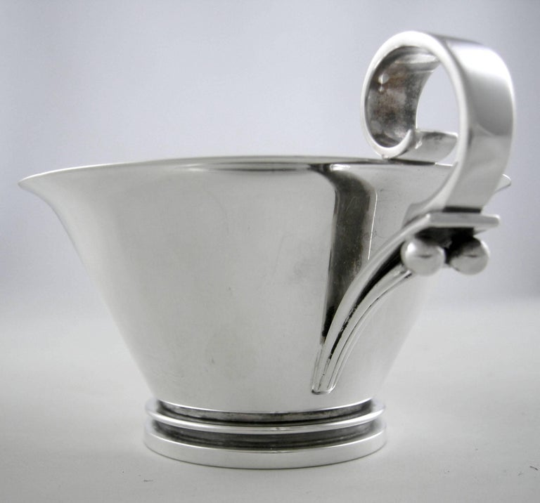 Sterling Silver Sterling Georg Jensen Pyramid Three-Piece Coffee Set, 1930 For Sale
