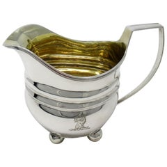 Sterling Georgian Sterling Silver Cream Jug Pitcher William Abdy, London, 1809