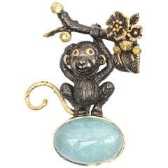 Sterling Gold plate 22.82 ct. Aquamarine,Sapphire,Garnet Monkey Brooch
