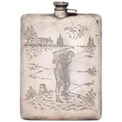 Sterling Golfer's Clarence Vanderbuilt Vintage Flask