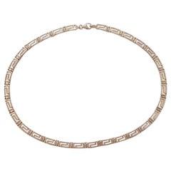 Vintage Sterling Pierced Greek Key Necklace & 3 Sets Matched Pierced Earrings