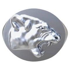 Sterling Growler Lion Signet Ring