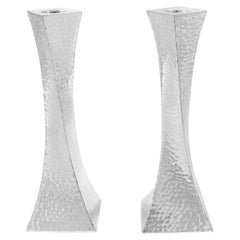 Sterling Hammered Candlesticks