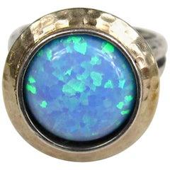 Sterling & Hammered Gold Opal Bezel Ring