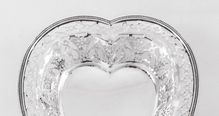American Sterling Heart Dish For Sale