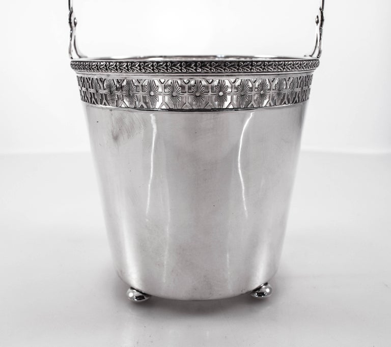 American Sterling Ice Bucket and Tongs For Sale